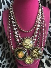 Betsey Johnson Vintage Betsey's Tea Party Lucite Bubble Cake Rosebud Necklace