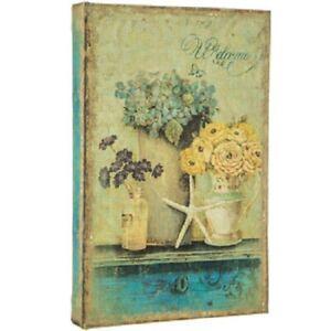 Book Box Hidden Jewelry Secret Fake Faux Vintage - Seaside Flower WELCOME
