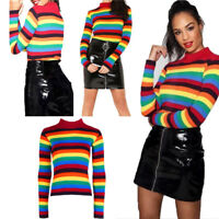 Ladies Long Sleeve Stripe Rib Rainbow Knitted Sweater Roll Neck Jumper Top 8-14
