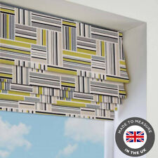 Green Striped Patterned Roman Blind - Blackout - Made To Measure In The UK