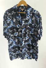 George Gray Hawaiian Leaf Pattern Blue Flowers and Macaws Size L