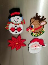 Christmas Magnets  - Handmade Plastic Canvas set of 4