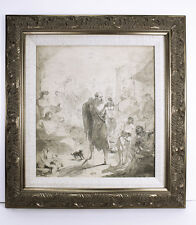 "1800s ORIGINAL Italian Master Drawing ""The Shepherd shares a Story"" FRAMED COA"