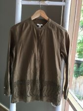 Lovely J CREW Embroidered Button Down Shirt Top Blouse Sz 0 XS EUC