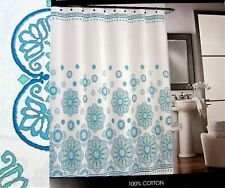 Cynthia Rowley Fabric Shower Curtain 100% Cotton Aqua Spanish Medallion