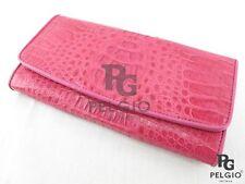 PELGIO Genuine Crocodile Caiman Skin Leather Trifold Cutch Wallet Purse Pink