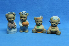 Lot of 4 Homco Porcelain Thanksgiving Bears Fall #5312 Collectible Figurines