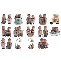 2pcs Bureau Vieux Couple Marié Ornement Miniature Figurine Résine
