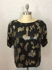 Vtg J. L. B. Beaded Black Leopard Big Cat Spots Sequins Trophy Silk Blouse Large