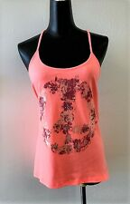 MISS ME Women's Camisole Tank Top Coral Floral Peace Sign Size L NEW