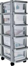5 Drawer Silver Plastic Slim Tower Storage Unit Office Home School Organizer