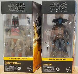 """Star Wars Black Series Mandalorian Super Commando Cad Bane 6"""" Figures Clone Wars"""