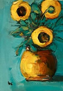 SUNFLORAL II an Original ACEO Painting Beth Capogrossi SIGNED COA SUNFLOWERS