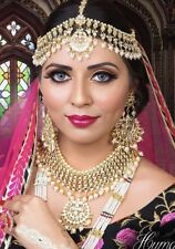 Indian Pakistani Bollywood Traditional Bridal Kundan Jewellery Set Ivory Pearls
