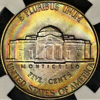 Rainbow Toned 1946 P NGC MS65 Jefferson Nickel 5c Bands of Color PQ Near FS