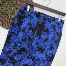 Banana Republic Womens Pants Blue Black Floral Sloan Slacks Size 10