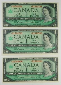 1967 Canada $1 Currency Banknotes - 3 UNC Consecutive Replacement Star Notes