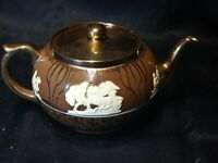 Vintage. Gibson Staffordshire teapot brown and silver porcelain