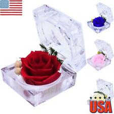 REAL Preserved Forever Rose Flower Ring Box Birthday Anniversary Holiday Gift US