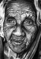 Original Hyper Realistic Pencil Sketch Drawing Artwork Female Portrait OLD WOMAN