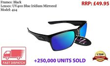 RayZor Black Sports Wrap Sunglasses Uv400 Blue Mirrored Lens (424