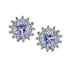 925 Sterling Silver Formal Stud Tanzanite CZ Earrings Cubic Zirconia Pushbacks