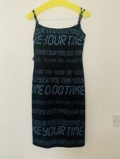 MOSCHINO JEANS TAKE YOUR TIME CALCULATOR BODYCON BLACK BLUE STRAP DRESS | UK10