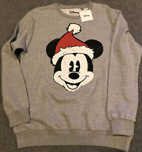 Disney Mickey Mouse Womens Christmas Sweatshirt Size 14 / XL New