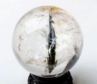 74mm Natural Clear Black Tourmaline Crystal Sphere Ball Quartz Mineral Specimen