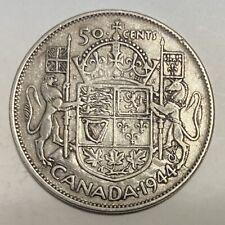1944 Canada 50 Cents Half Dollar Silver Coin - George VI