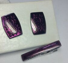 Japanese Matsuzakaya Sterling Silver & Purple Enamel Cufflinks & Tie Clip Set