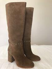 5f112194f3c New Tory Burch Sz. 6.5 M Suede River Rock Stitched Block Heel Tall Boots
