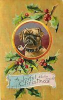 DB Christmas Postcard L350 Embossed Bulldog Boxer Pug Dog Vignette Cancel 1909