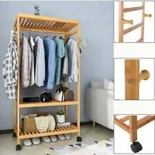 Holz Kleiderständer mit Rollen Kleiderstange Garderobenständer Bambus Stabil DE