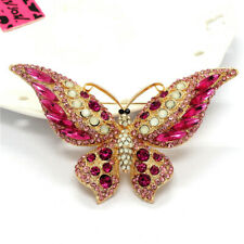 Betsey Johnson Lovely Rhinestone Pink Butterfly Crystal Charm Brooch Pin