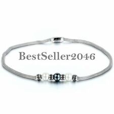 Retro Bead Charm Mesh Stainless Steel Women's Girls Necklace w Magnetic Buckle