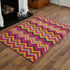 Large 8-10mm Thick Clearance Alpha 160x230cm Quality Multi Modern Soft Rugs 8. Wave Fuschia Pink Orange