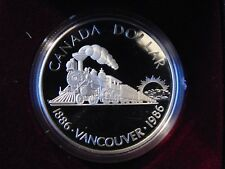 1986 silver dollar CANADA Vancouver TRAIN ENGINE LOCOMOTIVE PROOF MINT  in box