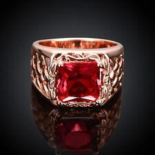 18K Rose Gold GP Ruby Red Swarovski Crystal Wedding Engagement Ring Size 10
