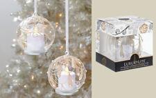 GANZ Set/2 Pearls LUXURYLITE LED Glass Ornaments w/flickering flame