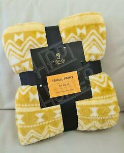 Tribal Pattern Super Soft Plush Throw Ochre Yellow Sofa Blanket Bed Fleece Cosy