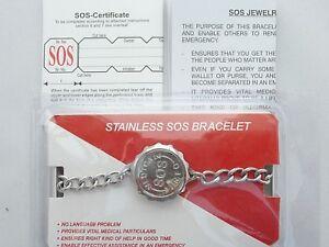 SOS BRACELET MEDICAL INFO CAPSULE/LADIES/MENS STAINLESS STEEL TALISMAN. SILVER