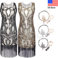 1920s Charleston Party Tassels Dresses Vintage Flapper Great Gatsby Sequin Dress