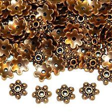 MXL3159p Antiqued Copper 10mm 6-Petal Scalloped Flower Metal Bead Caps 200/pkg