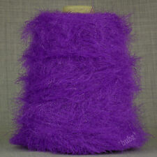 SOFT DOUBLE KNITTING FEATHER YARN BRIGHT PURPLE 500g CONE 10 BALL GLITTER FUR DK