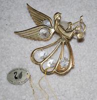 "Austrian Crystal 24K Gold Plated Angel Christmas Ornament Window Decor 4.5"" VTG"