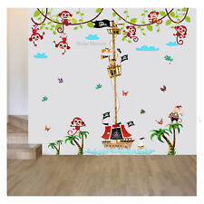 Pirate Ship Monkey Animal Height Chart Wall Stickers  ZooNursery Baby Room Decal