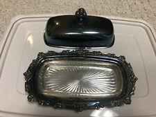 Lunt E50 silverplate Butter Dish W cover & glass insert Dish Vtg Silver Plate