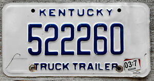 Blue on White Kentucky TRUCK TRAILER License Plate with the Idiotic 2017 Sticker