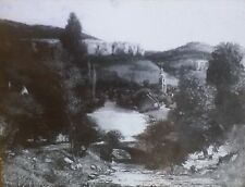 """Landscape"", Gustave Courbet., Magic Lantern Glass Art Slide"